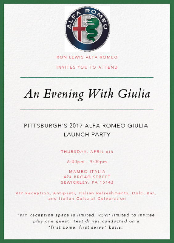 An Evening with Guilia Ron Lewis Alfa Romeo